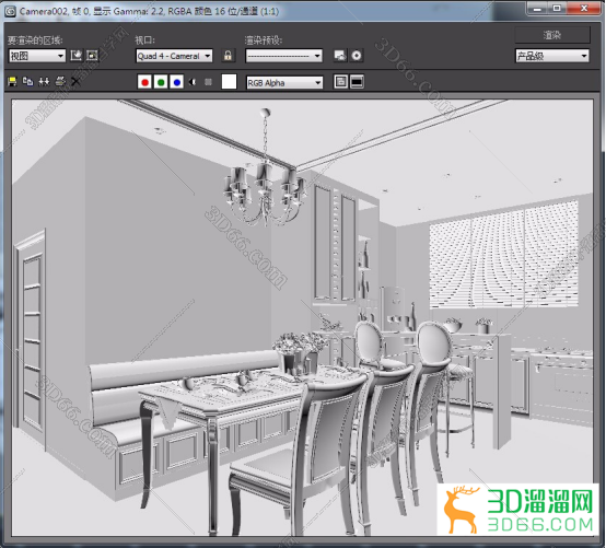 3DMax中如何用vray渲染白模